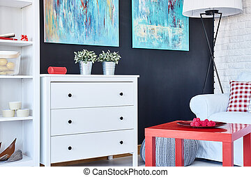 Room with colourful furnitures - Modern room with colourful...