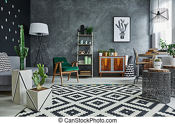 Flat interior with cacti - Modernly designed flat interior...
