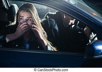 Bleeding traumatized passenger calling for help - Bleeding...