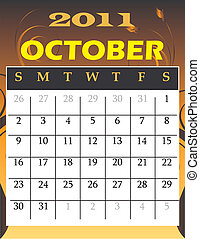 October2011 - Vector Illustration of 2011 Calendar with a...