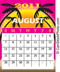 August 2011 - Vector Illustration of 2011 Calendar with a...