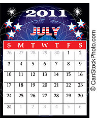 July 2011 - Vector Illustration of 2011 Calendar with a...