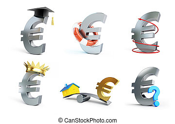 euro sign set on a white background 3D illustration