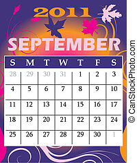 September 2011 - Vector Illustration of 2011 Calendar with a...