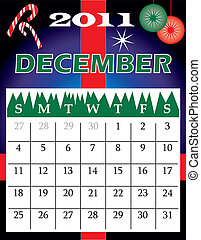 December 2011 - Vector Illustration of 2011 Calendar with a...