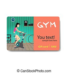 Young woman riding stationary bicycle in the gym. Sale discount