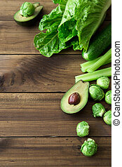 Products containing folic acid - B9 vitamin . Green...