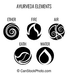 Ayurveda vector elements and doshas icons isolated on white....