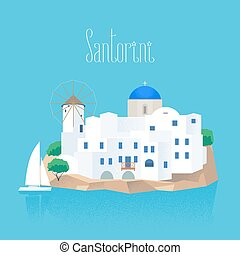 Santorini island vector illustration