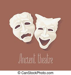 Theater masks for ancient theater vector illustration....