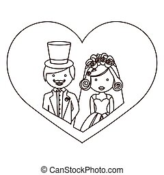 sketch silhouette heart with half body cartoon married couple