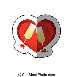 sticker colorful silhouette heart with toast champagne glasses for wedding