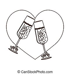 silhouette heart with toast champagne glasses for wedding