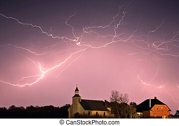 Lightning bolts over Spring Valley country church