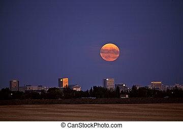 Full moon rising over Regina