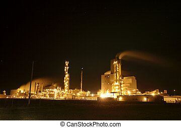 Regina oil refinery lit at night