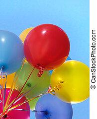 balões, coloridos, ar