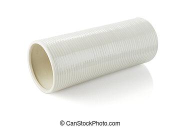 Cylindrical Shape Vase Lying on White Background