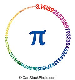 Hundred digits of number Pi forming a rainbow colored...