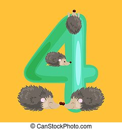 ordinal number 4 for teaching children counting four...