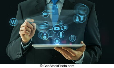 Business man pointing on web development concept tablet pad...