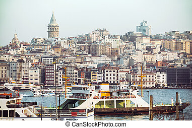 Galata tower view - Istanbul panorama skyline with the...
