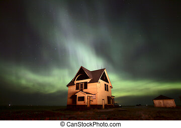Northern Lights over Saskatchewan farmhouse
