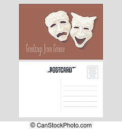 Postcard from Greece vector illustration with theater masks....