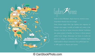 Map of Greece template vector illustration. Icons with Greek...