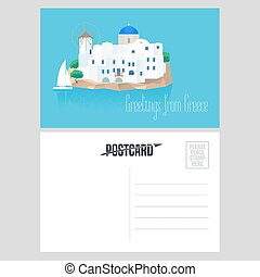 Postcard from Greece vector illustration with Santorini...