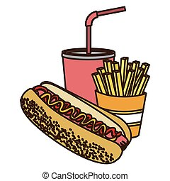 color figure with hot dog with french fries and soda
