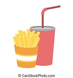colorful silhouette of soda with straw and french fries