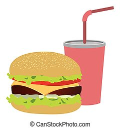 colorful silhouette of soda with straw and burger