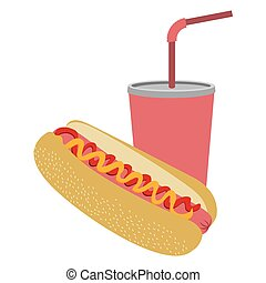 colorful silhouette of soda with straw and hot dog
