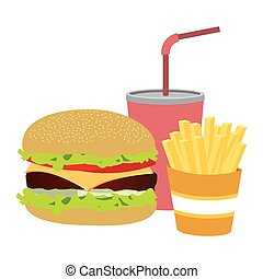 colorful silhouette with burger with french fries and soda