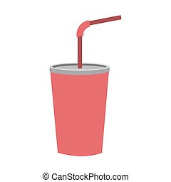 colorful silhouette of soda with straw