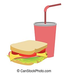 colorful silhouette of soda with straw and sandwich