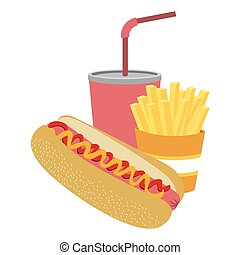 colorful silhouette with hot dog with french fries and soda
