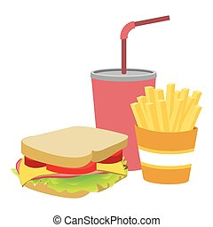 colorful silhouette with sandwich with french fries and soda