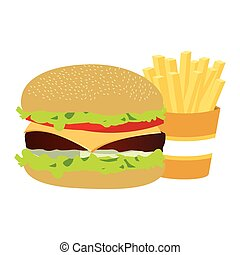 colorful silhouette with burger and french fries vector...