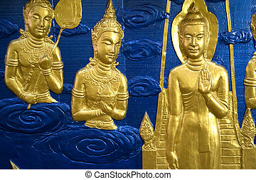Buddhist Temple Wall Sculpture - Buddhist temple wall...