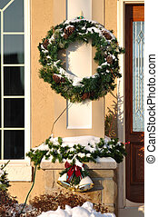 Christmas Wreath Covered with Snow - Christmas Wreath,...