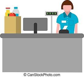 cashbox wth cashier - flat illustration of icon of cashbox...