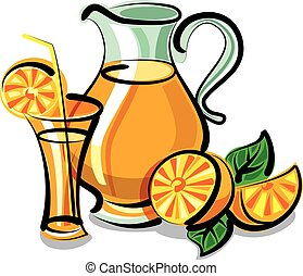 fresh orange juice - illustration of fresh orange juice in...