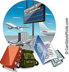 airport arrival departure - illustration of arrival...