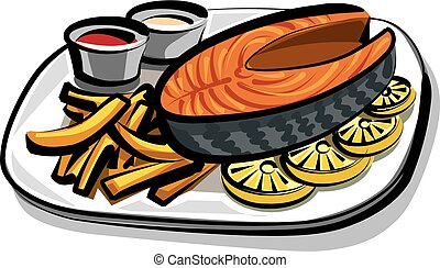 cooked fried salmon - illustration of cooked salmon with...