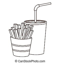 monochrome contour of soda with straw and french fries