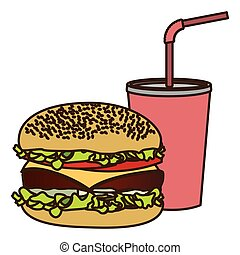 color figure of soda with straw and burger