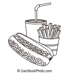 monochrome contour of hot dog with french fries and soda