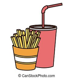 color figure of soda with straw and french fries